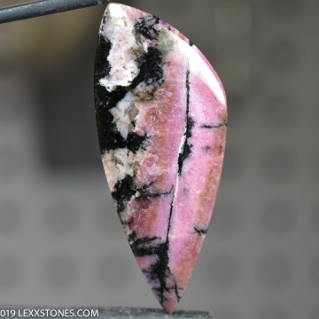 Vibrant Pink Black Alice Mine Montana Rhodonite Gemstone Cabochon Hand Crafted By LEXX STONES 57 Carats