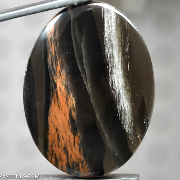 Flashy Silver Sheen Mahogany Obsidian Gemstone Cabochon Hand Crafted By LEXX STONES 105 Carats