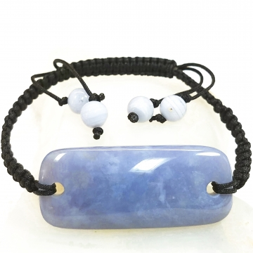 """Rare Namibian """"African Blue"""" Chalcedony Gemstone Plaque Bracelet Hand Crafted By LEXX STONES"""