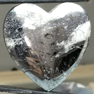 Rare Native Silver In Cobaltite Gemstone Heart Cabochon Hand Crafted by Lexx Stones 129 Carats