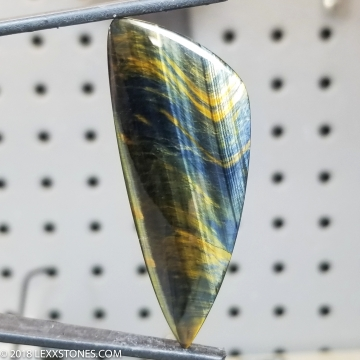 Variegated Blue Gold Tiger Eye Gemstone Cabochon Hand Crafted By LEXX STONES 62 Carats