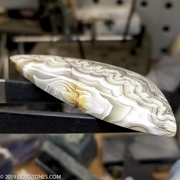 Natural Old Stock Parallax Silver Laguna Lace Agate Gemstone Cabochon Hand Crafted By LEXX STONES 85 Carats