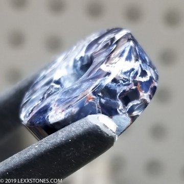 """""""Celestial Blue"""" Chatoyant Namibian Pietersite Gemstone Donut Bead Hand Crafted By LEXX STONES 13 Carats"""