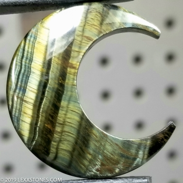 Natural Chatoyant Variegated Green Tiger Eye Crescent Moon Gemstone Cabochon Hand Carved By LEXX STONES 30 Carats