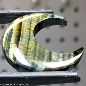 Natural Chatoyant Variegated Green Tiger Eye Crescent Moon Gemstone Heart Cabochon Hand Carved By LEXX STONES 30 Carats