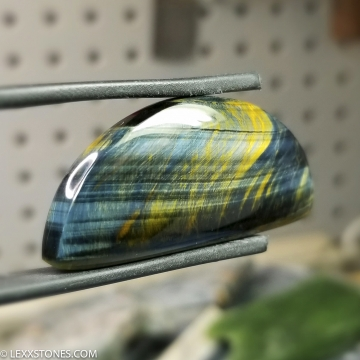"""Sunrise"" Variegated Blue Gold Tiger Eye Gemstone Cabochon Hand Crafted By LEXX STONES 75 Carats"